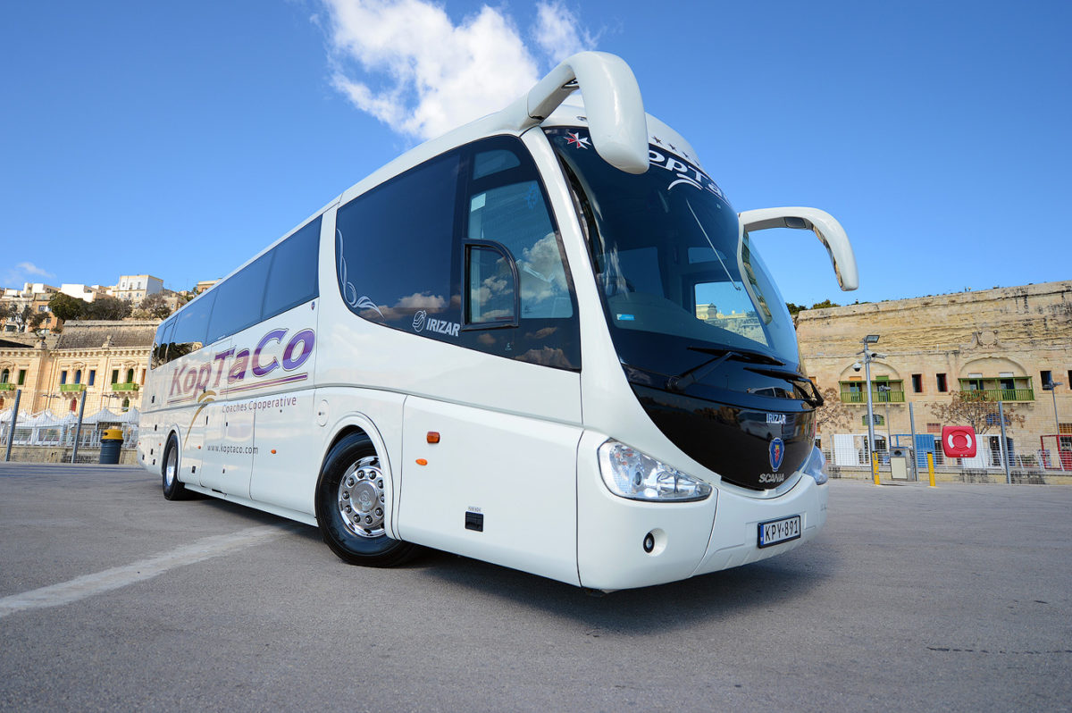 koptaco transportation services bus 53 seater transfers malta